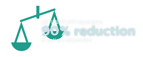 Define Flair reported a 90% reduction in patient discomfort