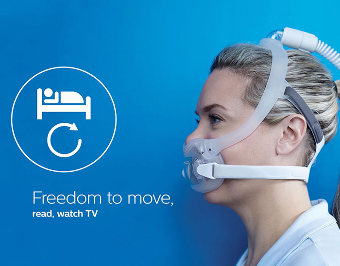 Dreamwear full face CPAP mask freedom to move