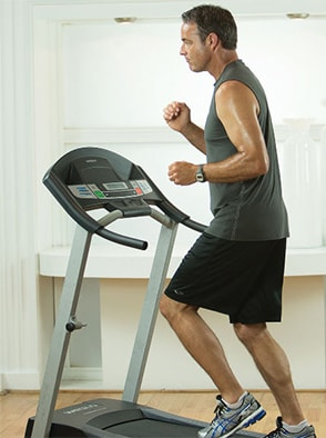 Man running on treadmill for clinical research