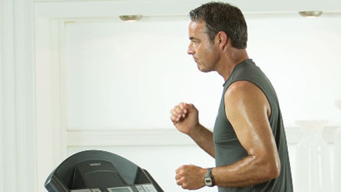 Man running on treadmill clinical research
