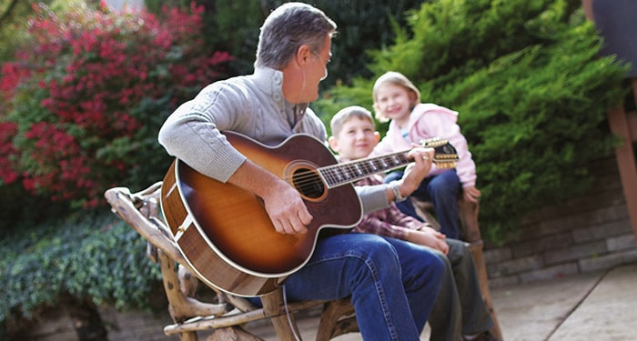 Guitar playing father with COPD