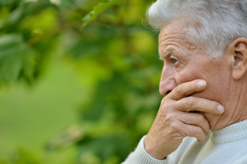 Close up of mans face contemplating COPD disease progression