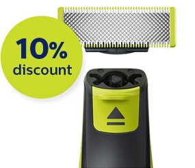 image about Philips Norelco Printable Coupon titled $10 Coupon Or 10% Off Philips Norelco OneBlade Blades Philips
