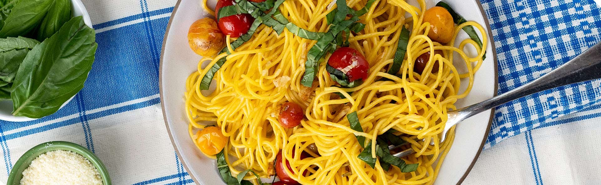Carrot Spaghetti with Blistered Cherry Tomato Sauce