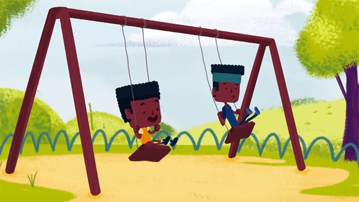 Illustration of children playing on swings outside