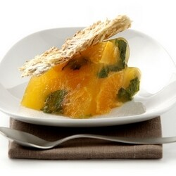 Citrus jelly with almond crunch