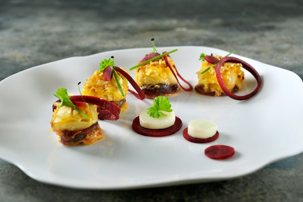 Beet, pumpkin and goats' cheese lasagna