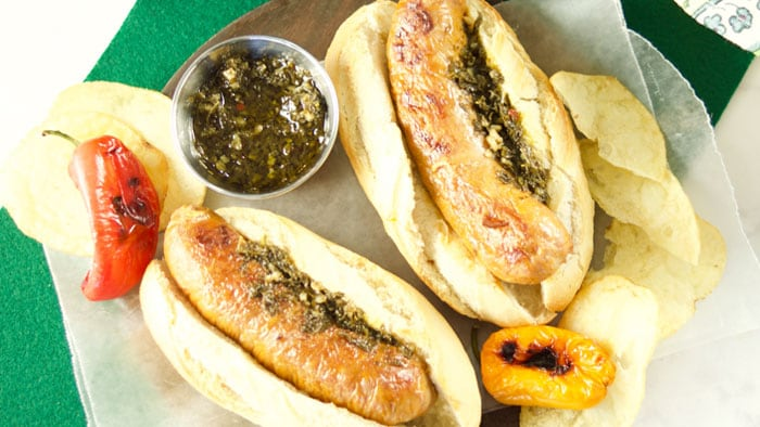 Chorizo Hotdogs with Chimichurri Sauce (Choripanes)