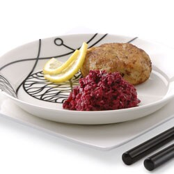 Fish burgers with roasted beetroot purée