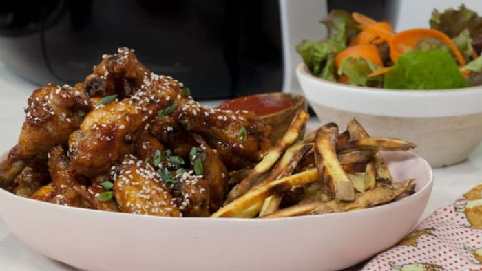 Sesame Chicken Wings and Sweet Potato Fries