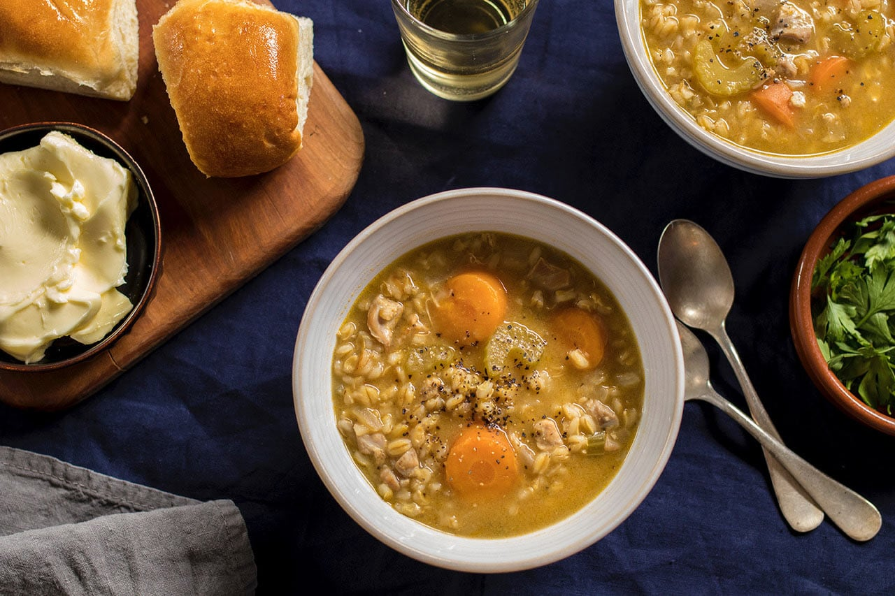Lemony Chicken Barley Soup