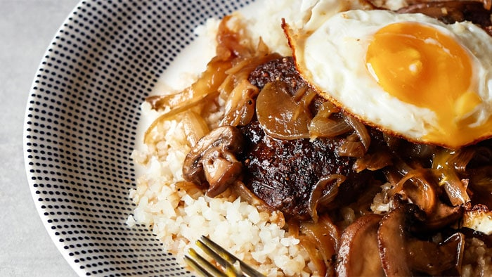 Loco Moco with Teriyaki Gravy Grilled Indoors