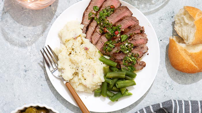 Grilled Sirlon Steak with Cilantro Chimichurri